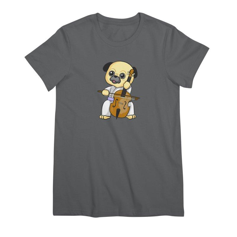 Puggie plays the Cello Women's Premium T-Shirt by Dino & Panda Inc Artist Shop