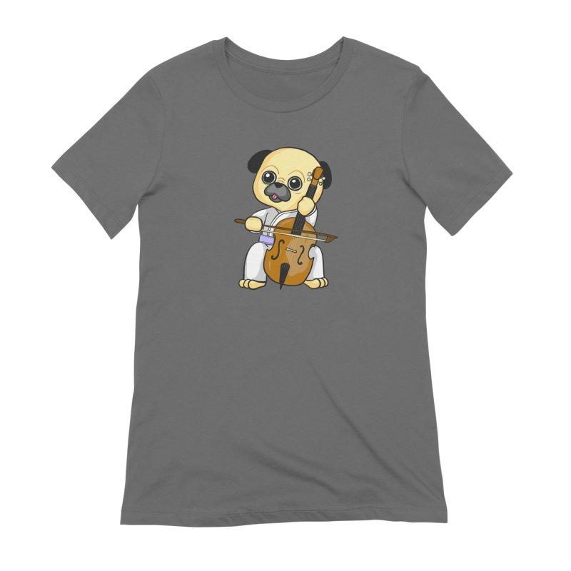 Puggie plays the Cello Women's T-Shirt by Dino & Panda Artist Shop