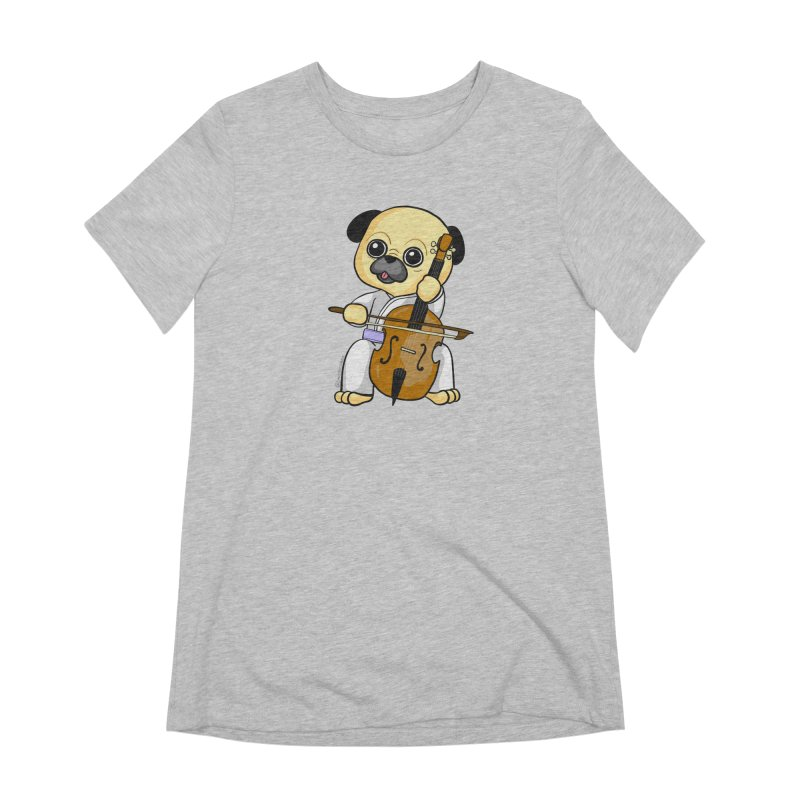 Puggie plays the Cello Women's Extra Soft T-Shirt by Dino & Panda Inc Artist Shop