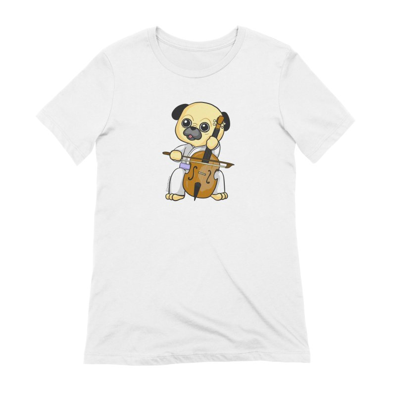 Puggie plays the Cello Women's Extra Soft T-Shirt by Dino & Panda Inc Artist Shop