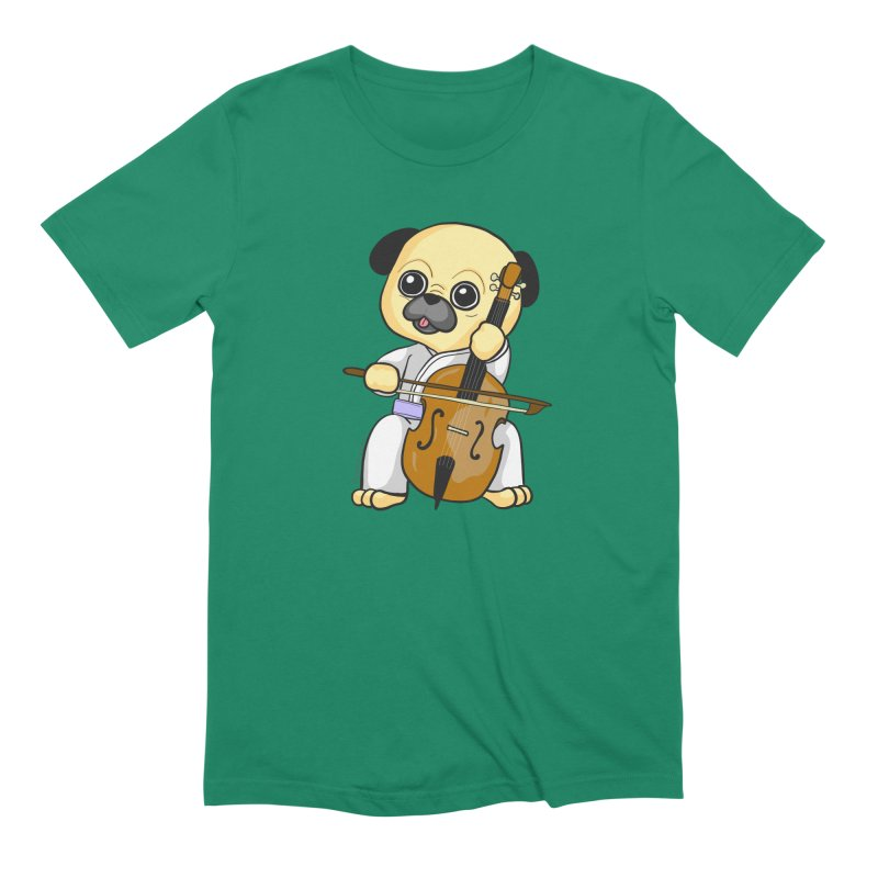 Puggie plays the Cello Men's Extra Soft T-Shirt by Dino & Panda Inc Artist Shop