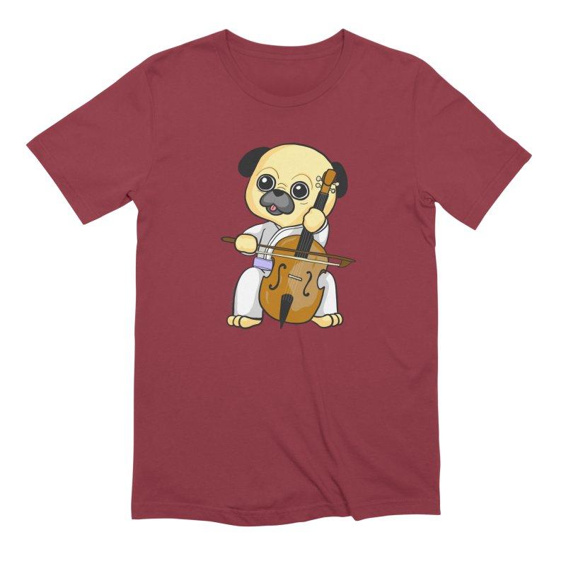 Puggie plays the Cello Men's Extra Soft T-Shirt by Dino & Panda Inc Artist Shop