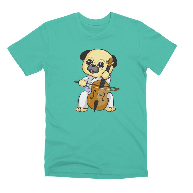 Puggie plays the Cello Men's Premium T-Shirt by Dino & Panda Inc Artist Shop
