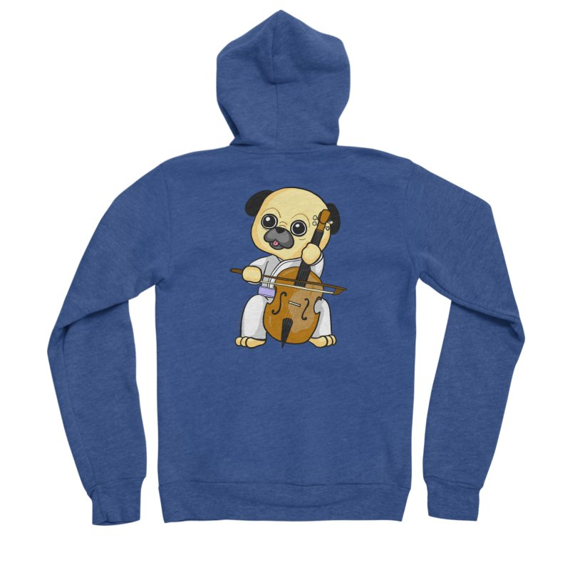 Puggie plays the Cello Women's Sponge Fleece Zip-Up Hoody by Dino & Panda Inc Artist Shop