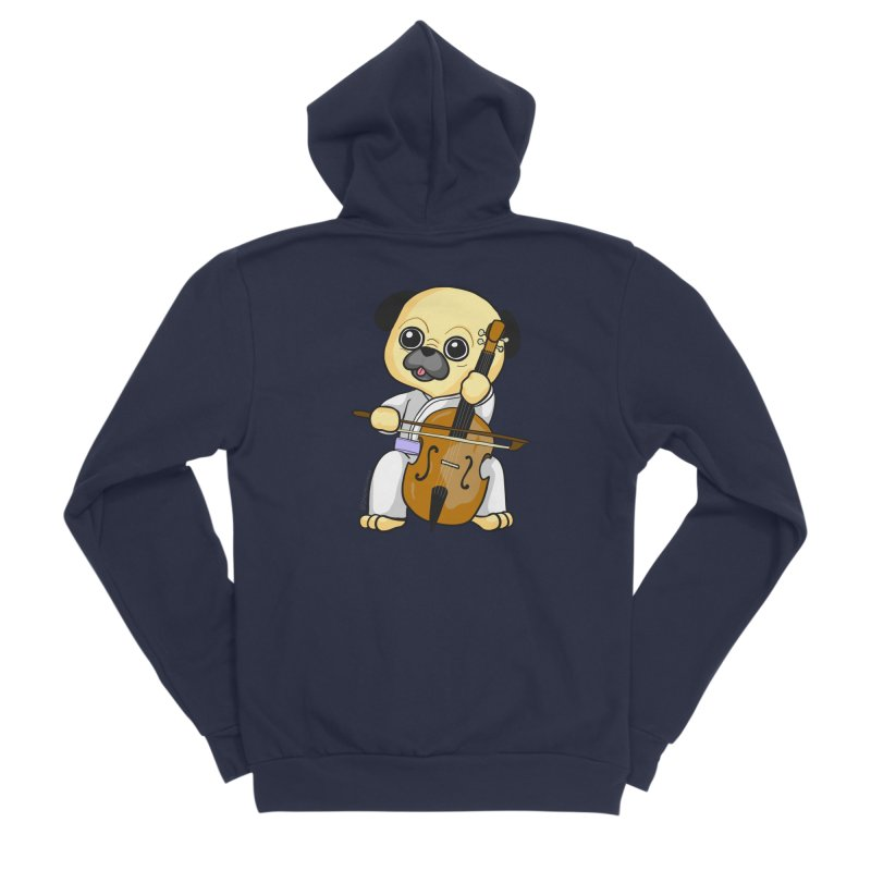 Puggie plays the Cello Men's Sponge Fleece Zip-Up Hoody by Dino & Panda Inc Artist Shop