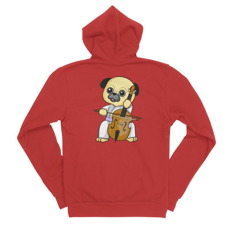 Puggie plays the Cello Men's Zip-Up Hoody by Dino & Panda Inc Artist Shop