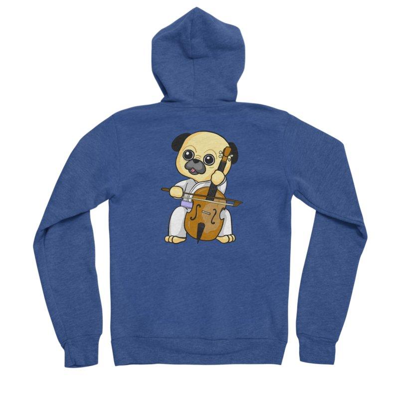 Puggie plays the Cello Men's Sponge Fleece Zip-Up Hoody by Dino & Panda Inc Artist Shop