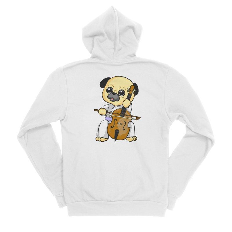 Puggie plays the Cello Women's Sponge Fleece Zip-Up Hoody by Dino & Panda Inc Artist Shop