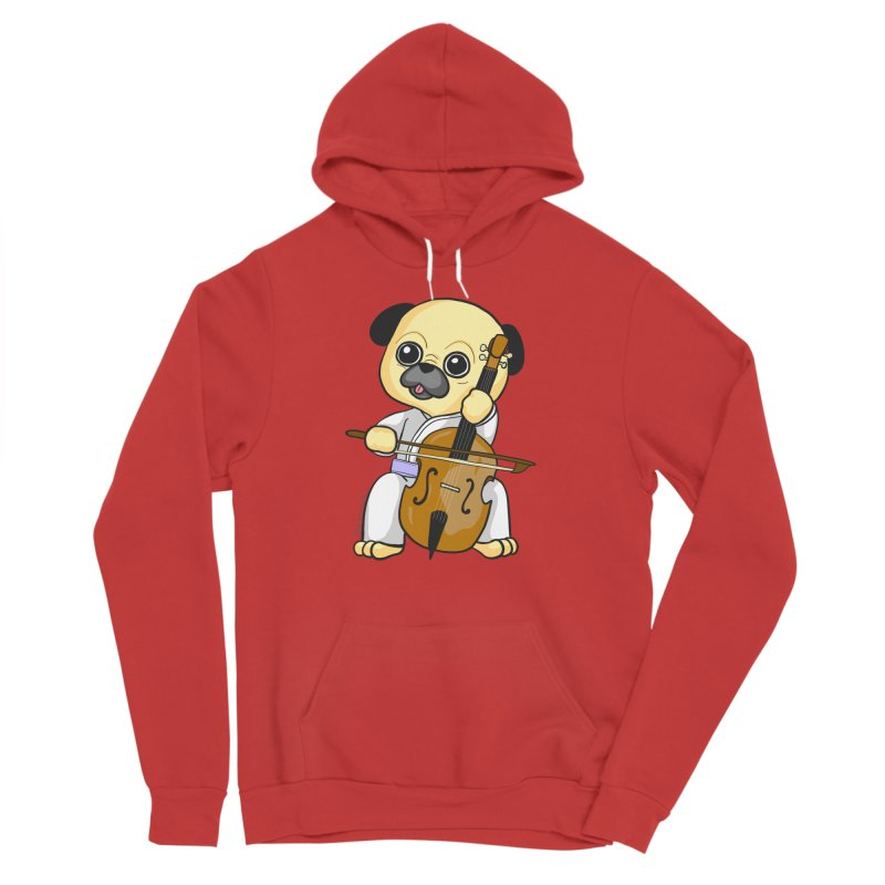 Puggie plays the Cello Men's Sponge Fleece Pullover Hoody by Dino & Panda Inc Artist Shop