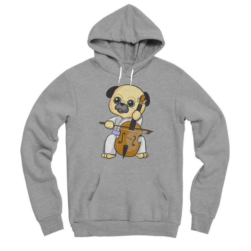Puggie plays the Cello Men's Sponge Fleece Pullover Hoody by Dino & Panda Inc Artist Shop