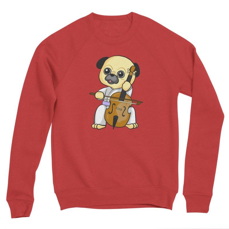 Puggie plays the Cello Women's Sponge Fleece Sweatshirt by Dino & Panda Inc Artist Shop