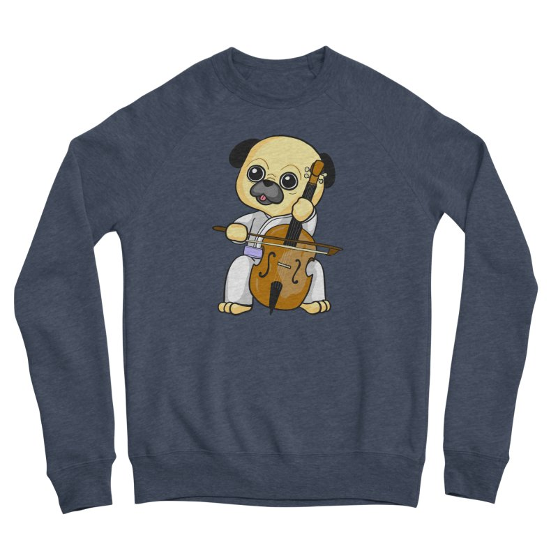 Puggie plays the Cello Men's Sponge Fleece Sweatshirt by Dino & Panda Inc Artist Shop