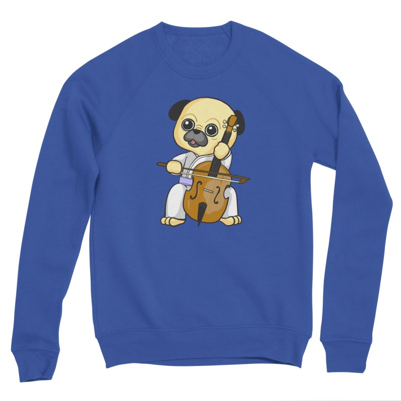 Puggie plays the Cello Men's Sponge Fleece Sweatshirt by Dino & Panda Inc Artist Shop