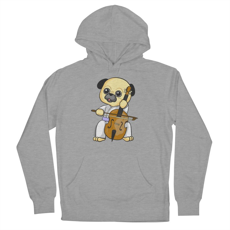 Puggie plays the Cello Women's Pullover Hoody by Dino & Panda Inc Artist Shop