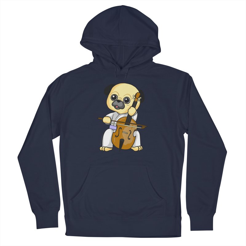 Puggie plays the Cello Men's Pullover Hoody by Dino & Panda Inc Artist Shop