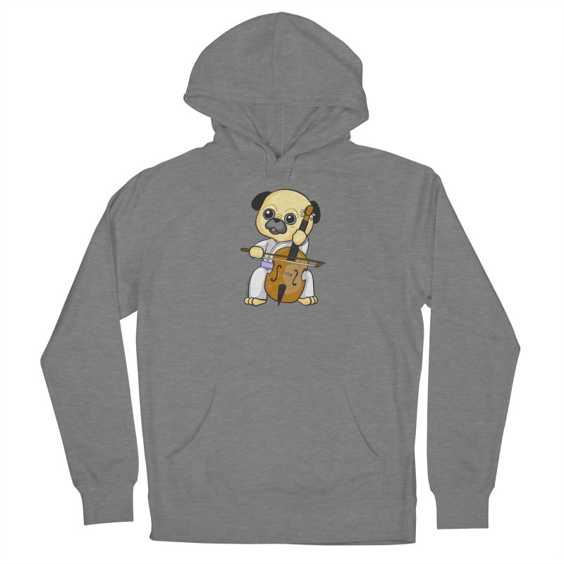 Puggie plays the Cello Women's Pullover Hoody by Dino & Panda Artist Shop