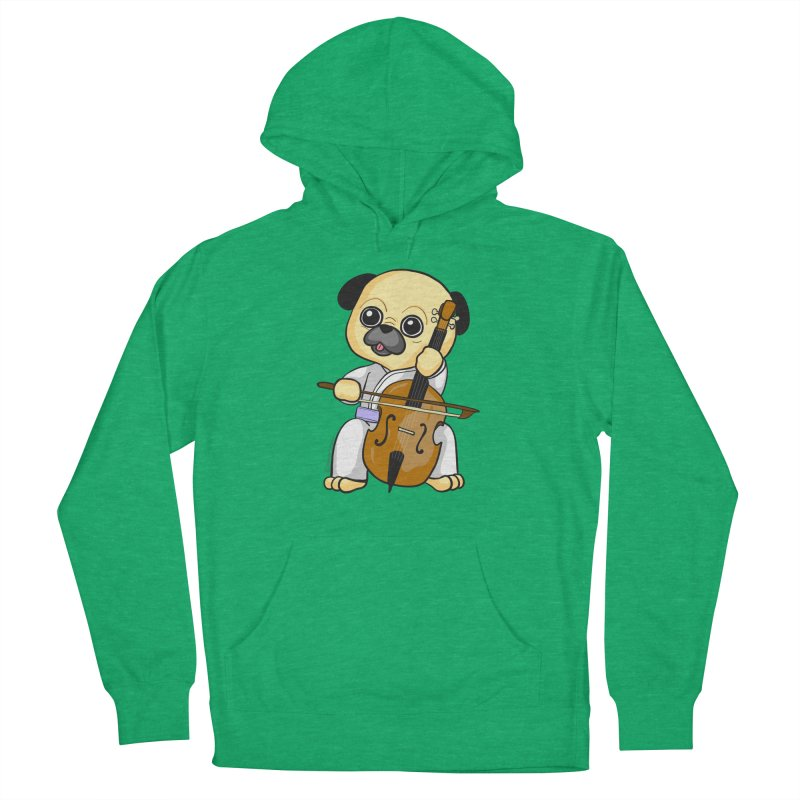 Puggie plays the Cello Women's French Terry Pullover Hoody by Dino & Panda Inc Artist Shop