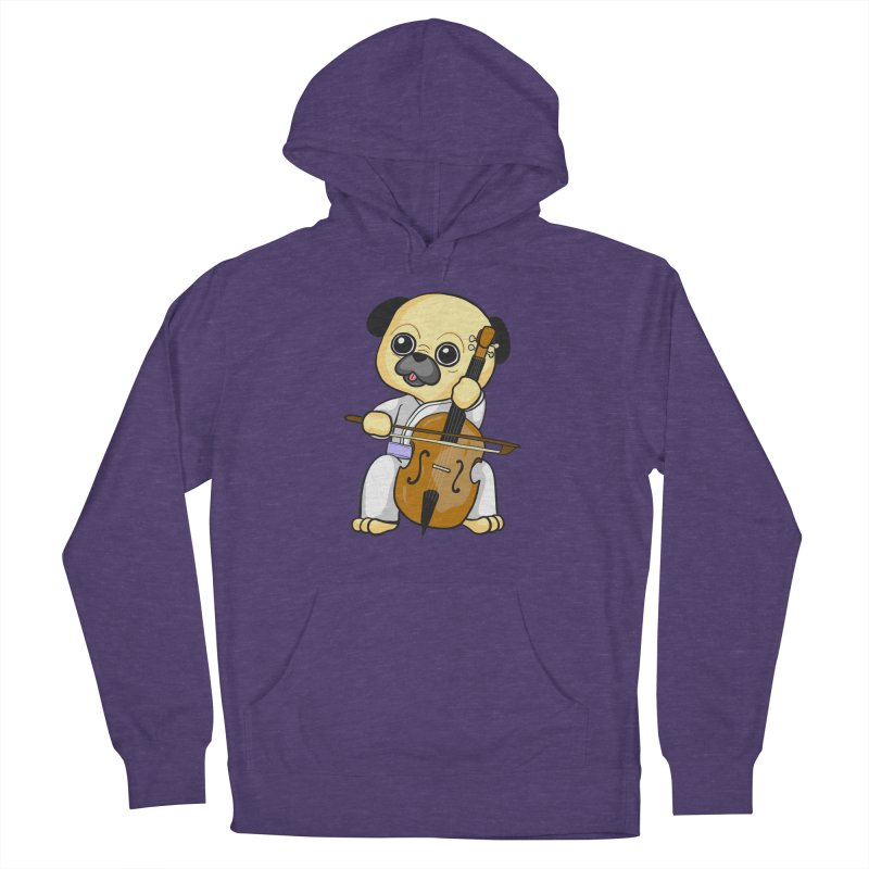 Puggie plays the Cello Men's French Terry Pullover Hoody by Dino & Panda Inc Artist Shop