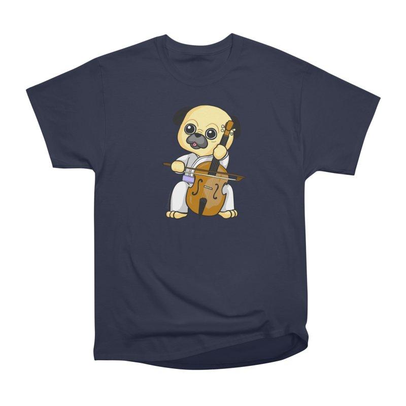 Puggie plays the Cello Men's Heavyweight T-Shirt by Dino & Panda Inc Artist Shop