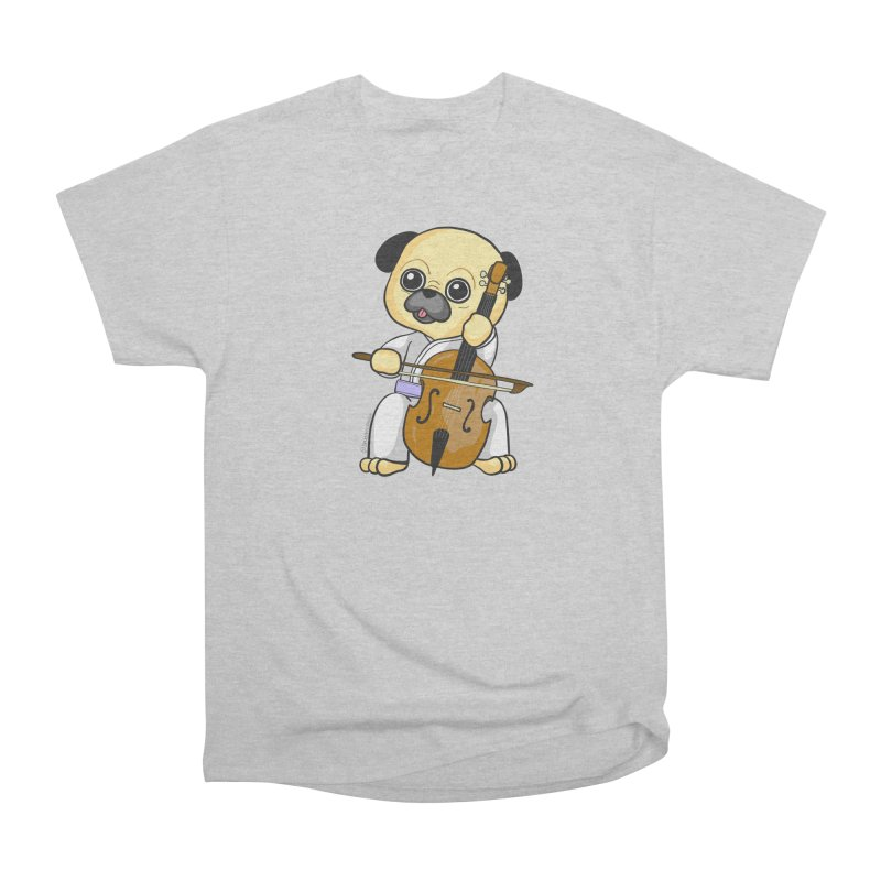 Puggie plays the Cello Men's Heavyweight T-Shirt by Dino & Panda Inc Artist Shop