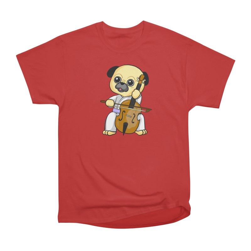 Puggie plays the Cello Women's Heavyweight Unisex T-Shirt by Dino & Panda Inc Artist Shop
