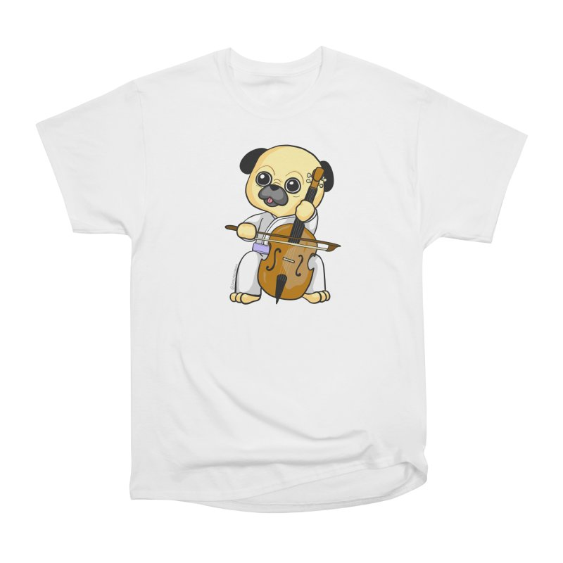 Puggie plays the Cello Women's Heavyweight Unisex T-Shirt by Dino & Panda Inc Artist Shop