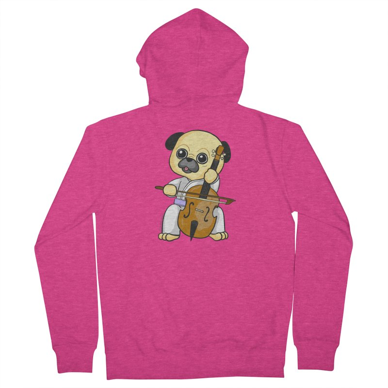 Puggie plays the Cello Women's French Terry Zip-Up Hoody by Dino & Panda Inc Artist Shop