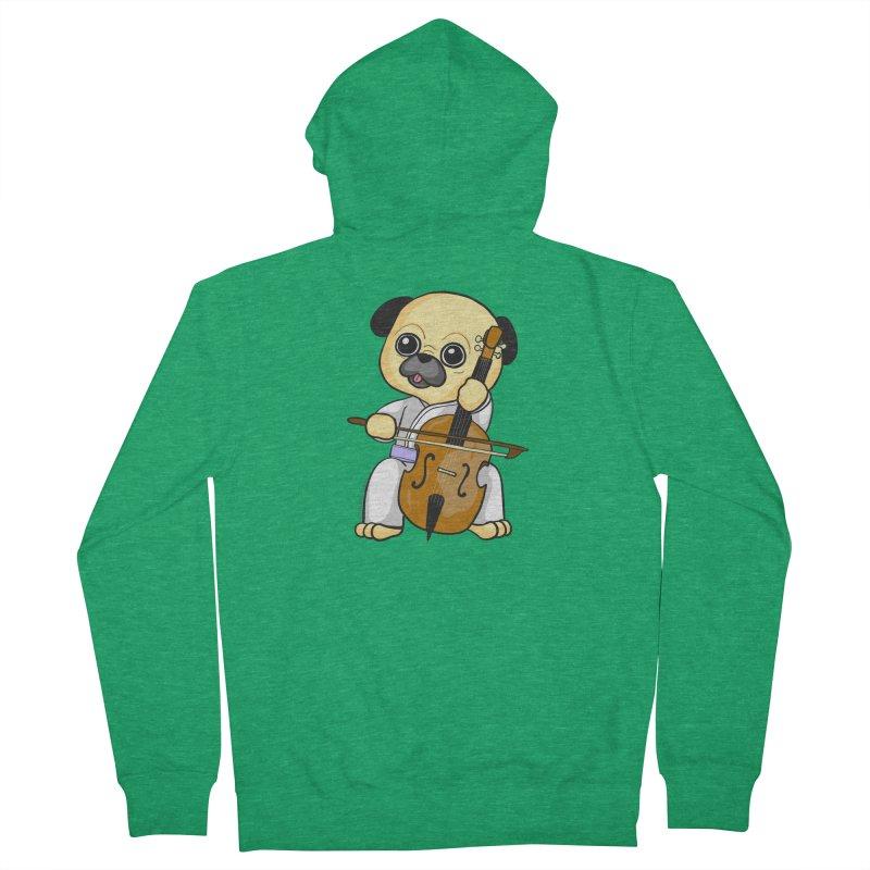 Puggie plays the Cello Men's Zip-Up Hoody by Dino & Panda Inc Artist Shop