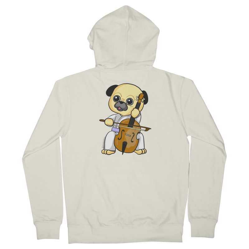 Puggie plays the Cello Men's French Terry Zip-Up Hoody by Dino & Panda Inc Artist Shop