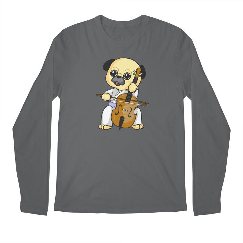 Puggie plays the Cello Men's Regular Longsleeve T-Shirt by Dino & Panda Inc Artist Shop