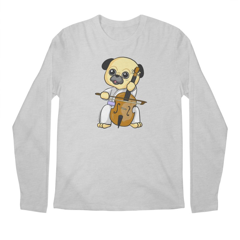 Puggie plays the Cello Men's Regular Longsleeve T-Shirt by Dino & Panda Inc Artist Shop