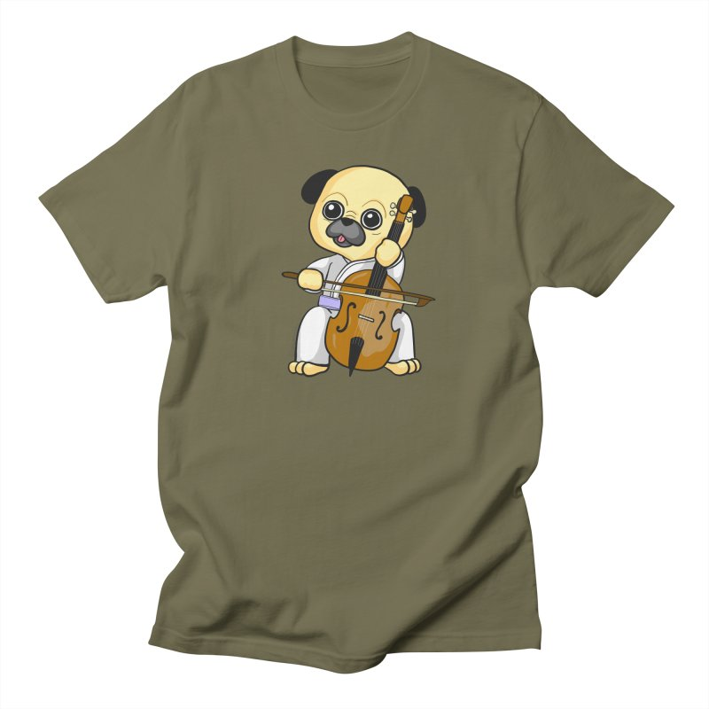 Puggie plays the Cello Men's Regular T-Shirt by Dino & Panda Inc Artist Shop
