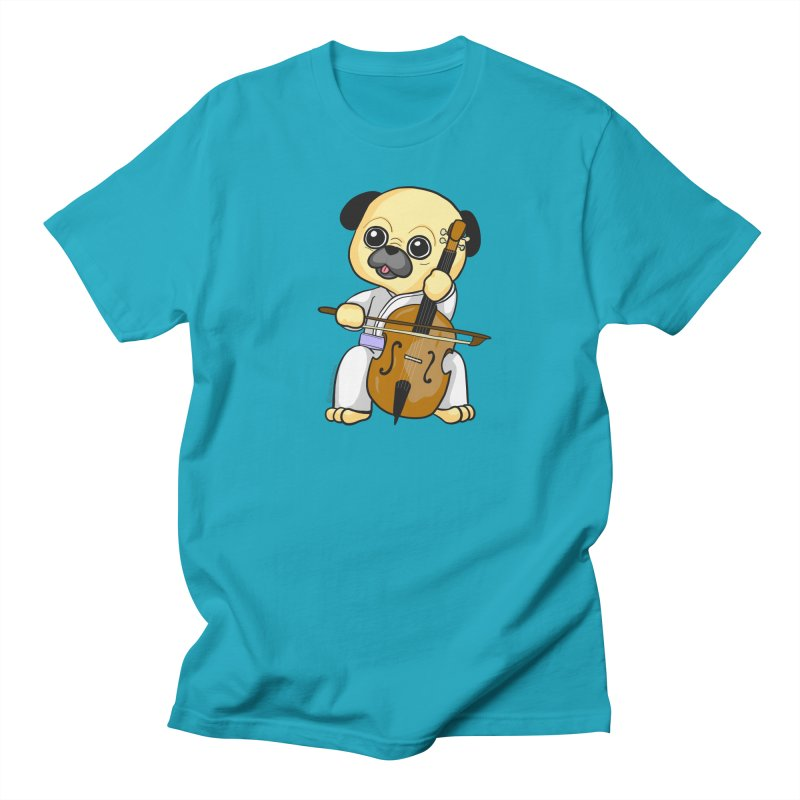 Puggie plays the Cello Women's Regular Unisex T-Shirt by Dino & Panda Inc Artist Shop