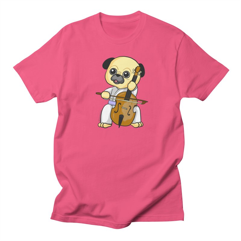Puggie plays the Cello Women's T-Shirt by Dino & Panda Inc Artist Shop