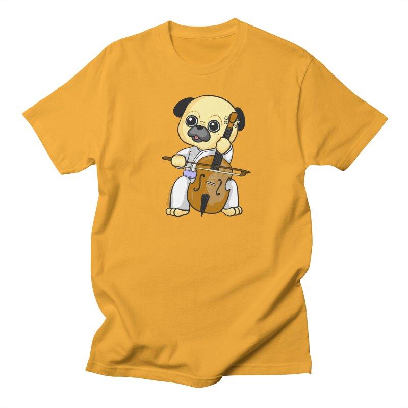 Puggie plays the Cello Women's T-Shirt by Dino & Panda Inc Artist Shop