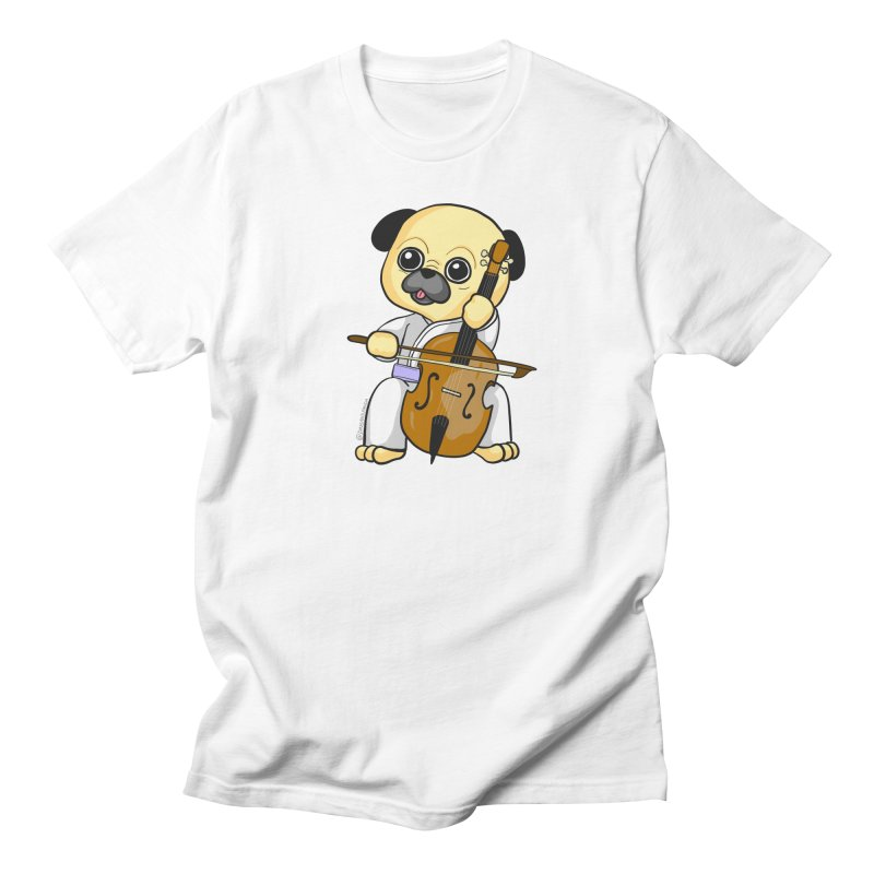 Puggie plays the Cello Men's Regular T-Shirt by Dino & Panda Inc Artist Shop
