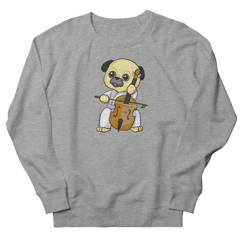 Puggie plays the Cello Women's French Terry Sweatshirt by Dino & Panda Inc Artist Shop