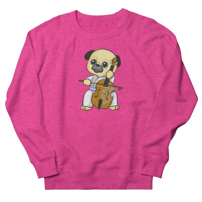 Puggie plays the Cello Women's French Terry Sweatshirt by Dino & Panda Inc Artist Shop