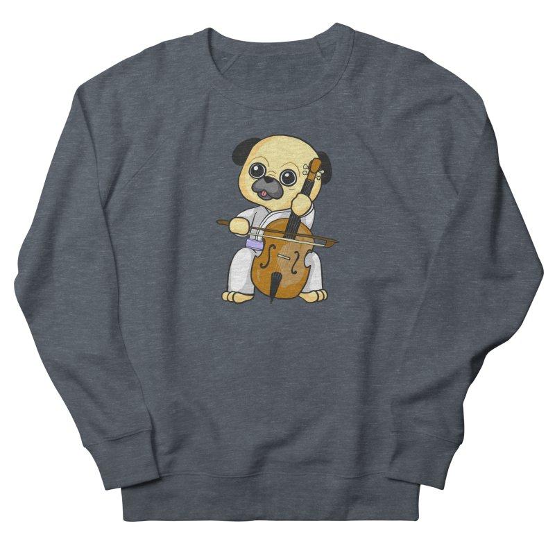 Puggie plays the Cello Men's French Terry Sweatshirt by Dino & Panda Inc Artist Shop