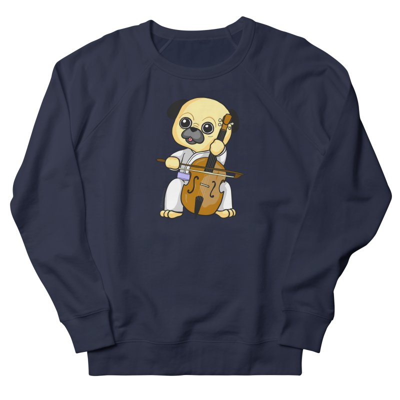 Puggie plays the Cello Men's French Terry Sweatshirt by Dino & Panda Inc Artist Shop