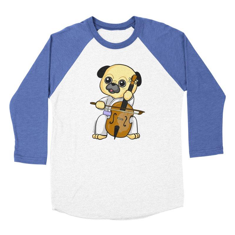 Puggie plays the Cello Women's Baseball Triblend Longsleeve T-Shirt by Dino & Panda Inc Artist Shop