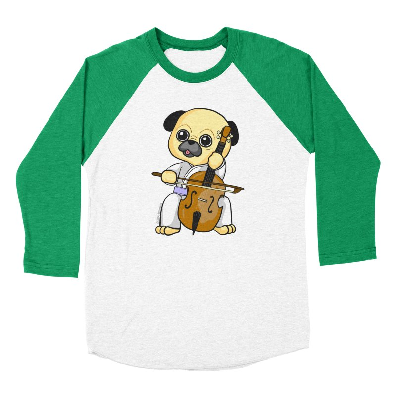 Puggie plays the Cello Women's Baseball Triblend Longsleeve T-Shirt by Dino & Panda Inc Artist Shop