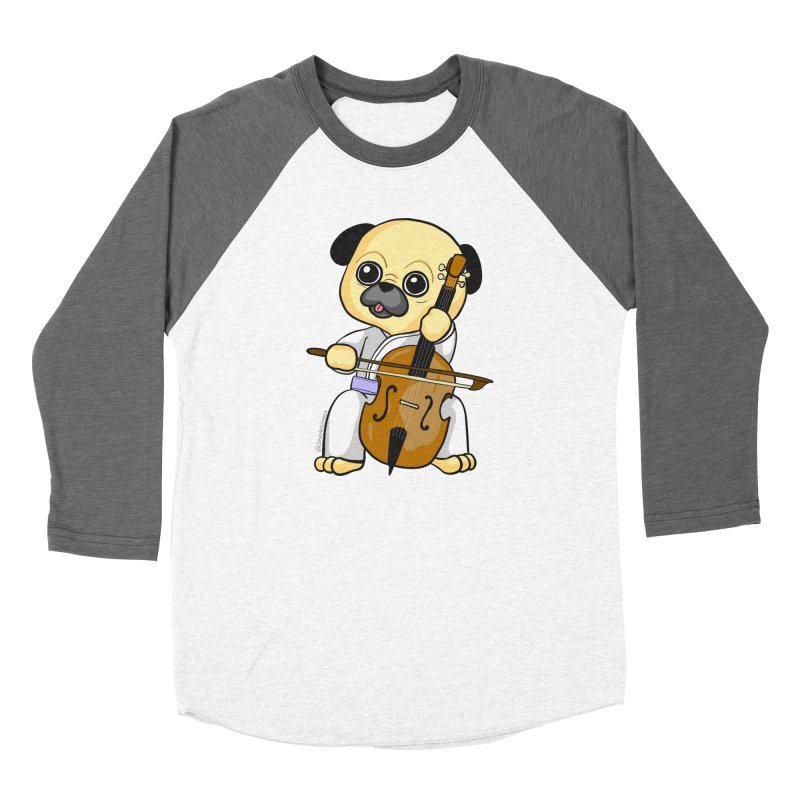 Puggie plays the Cello Men's Baseball Triblend Longsleeve T-Shirt by Dino & Panda Inc Artist Shop