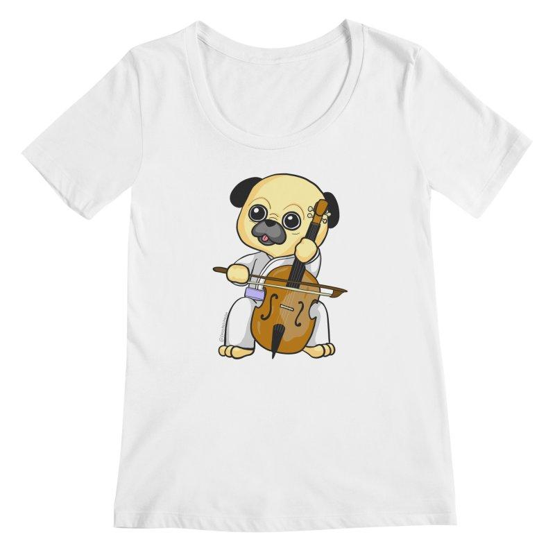 Puggie plays the Cello Women's Regular Scoop Neck by Dino & Panda Inc Artist Shop