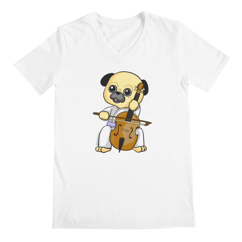 Puggie plays the Cello Men's Regular V-Neck by Dino & Panda Inc Artist Shop
