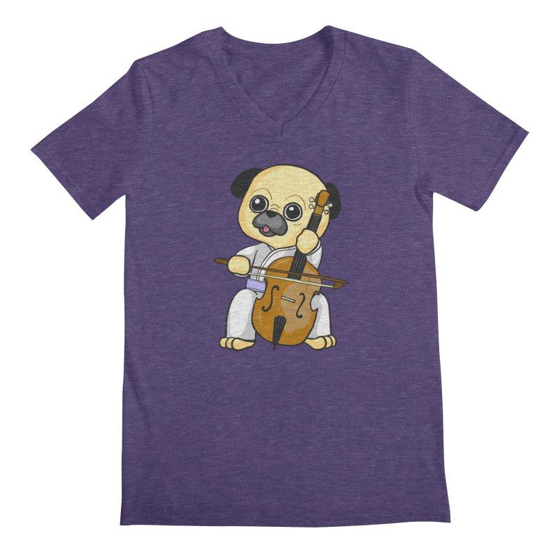 Puggie plays the Cello Men's Regular V-Neck by Dino & Panda Inc Artist Shop
