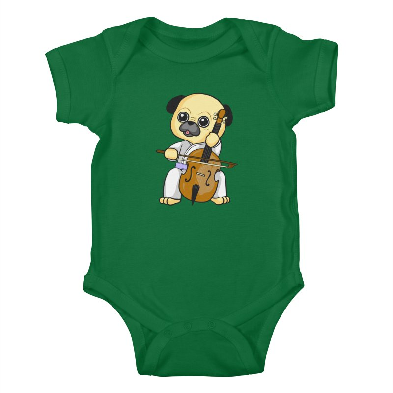 Puggie plays the Cello Kids Baby Bodysuit by Dino & Panda Inc Artist Shop