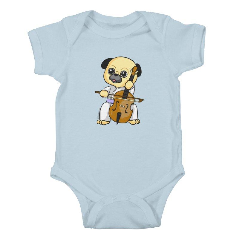 Puggie plays the Cello Kids Baby Bodysuit by Dino & Panda Inc Artist Shop
