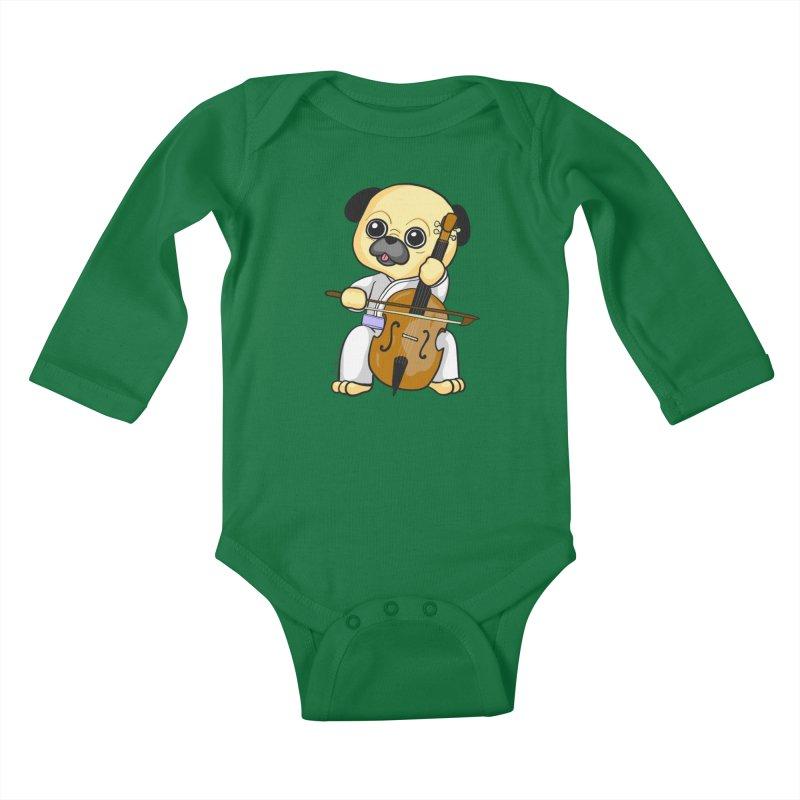Puggie plays the Cello Kids Baby Longsleeve Bodysuit by Dino & Panda Inc Artist Shop
