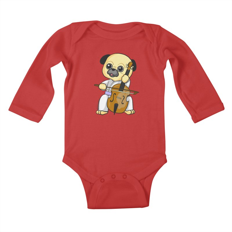 Puggie plays the Cello Kids Baby Longsleeve Bodysuit by Dino & Panda Inc Artist Shop